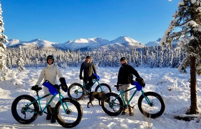 Winter fat tire biking tour in Anchorage Alaska with a family.